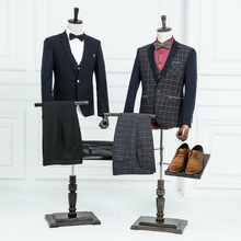 Props male half body mannequin male suit clothes display men fabric mannequin with wooden arms and shoes pants racks