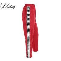 Weekeep 2017 moda mujeres marca pantalon Femme lado tablero Pantalones de chándal rojo punto para mujer Pantalones flojo ocasional señora Pantalones