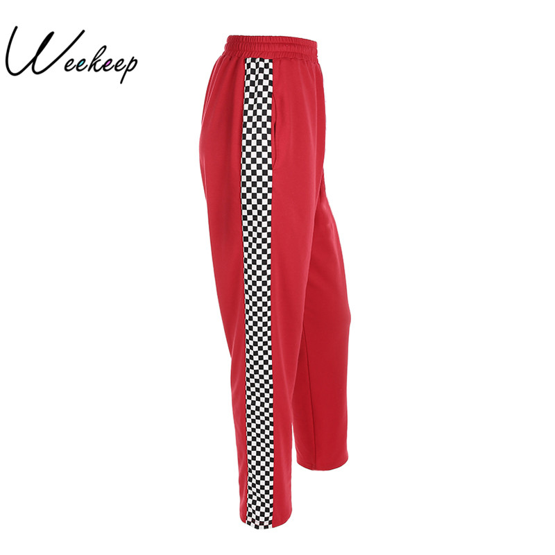 Weekeep Women 2017 Fashion Brand Pantalon Femme Side Checkerboard Sweatpants Red Knitted Womens Trousers Casual Loose Lady Pants