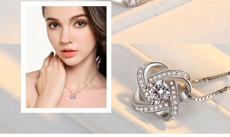 925 Sterling Silver Zircon Clover Flower Necklaces & Pendants For Women High Quality Sterling-silver-jewelry 4
