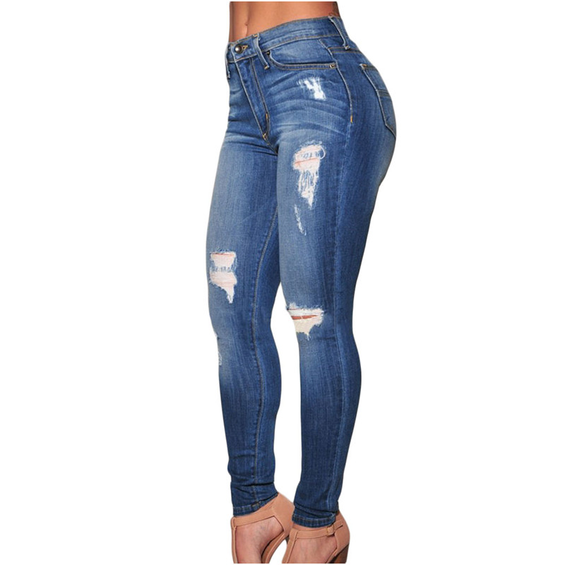 HAIYI Hot Selling 2016 Denim Pants Destroyed high waist Skinny Jeans LC78637 ripped jeans for women jean taille haute