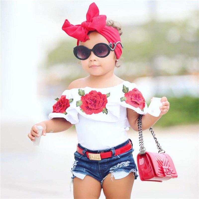 Summer Baby Kids Girls Clothes 3D Flower Print Sleeveless Ruffle Round Neck Pullover T-Shirts Denim Hole Pants 2pc Cotton Set