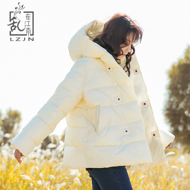 LZJN Oversize Hooded   Parka   Women Padding Jacket 2018 Autumn Winter Coat Loose Quilted Short Jacket Mori Girl Korean Outerwear