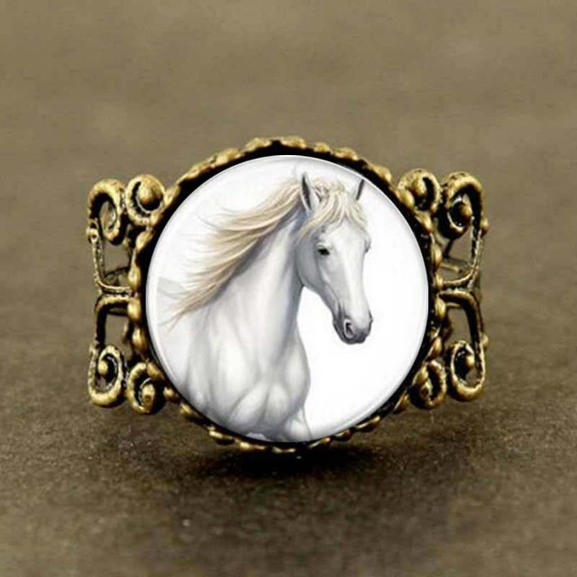 Steampunk Horse Ring Horse Horse jewelry Glass Dome Rings men women gift  vintage 1pcs lot best friends gift charms vintage xmas 9303782f6