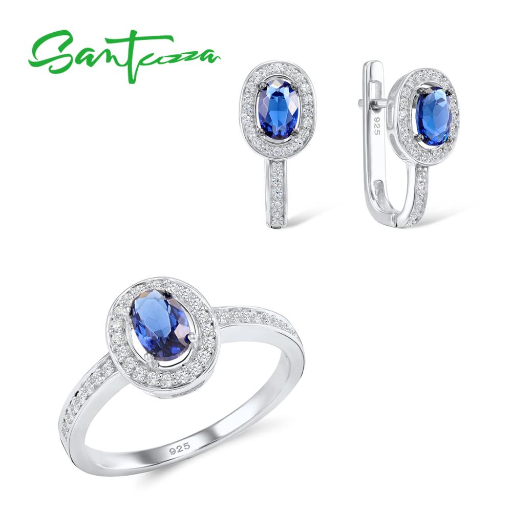 SANTUZZA Jewelry Set for Women Chic Bridal Oval Blue CZ Stones Jewelry Set Earrings Ring 925 Sterling Silver Fashion Jewelry Set santuzza jewelry sets for women blue spinels white cz stones jewelry set ring stud earrings set 925 sterling silver jewelry set