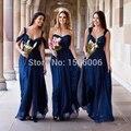 Chiffon a linha de Dama de Honra 2016 New arrival hottest Vestido de Dama de honra 2016 Low Cut sexy Azul Royal Vestidos Dama de honra 0704