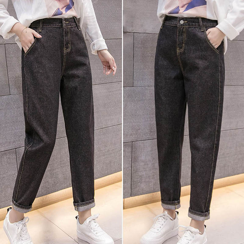Guuzyuviz Loose 4xl Autumn Winter Jeans Woman Vintage Casual Plus Size High Waist Cotton Elasticity Cuffs Denim Harem Pants Terrific Value Bottoms Women's Clothing