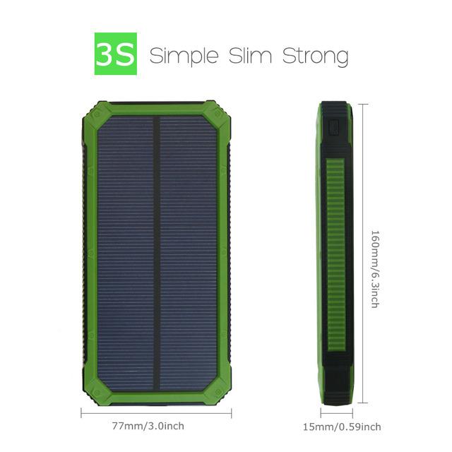15000 mAh Portable Solar Power Bank Phone Charger for iPhone 5 5s 6 6s 7 Samsung HTC Huawei Sony Nokia Motorola Xiaomi.