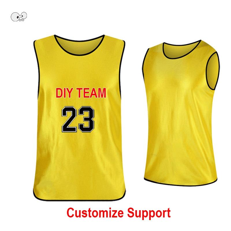 c96ed14fc 10Pcs lot DIY Print Youth Adult Team Sports Football Basketball Training  Pinnies Jerseys Quick Dry
