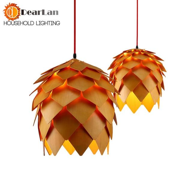 Moderne Holz Kunst Pendelleuchte E27 Kreative Holz Hängen Lampen Dekoration  Leuchte Für Wohnzimmer, Schlafzimmer,
