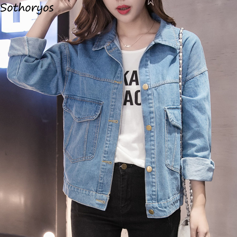 Jackets   Women Solid Simple All-match Pockets Leisure Coats Womens Turn-down Collar Korean Style BF Loose Students   Basic     Jacket