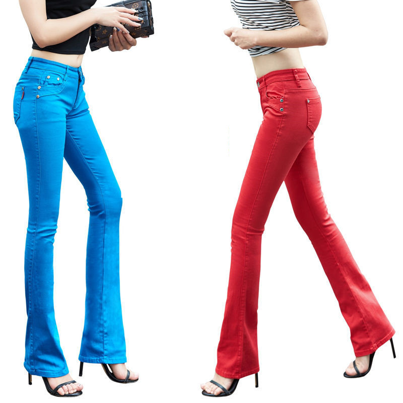 Women Summer Candy Color   Pants     Capris   OL Lady Work Wear Full Length Elastic Plus Size Boot Cut Flare Long   Pants   Trousers