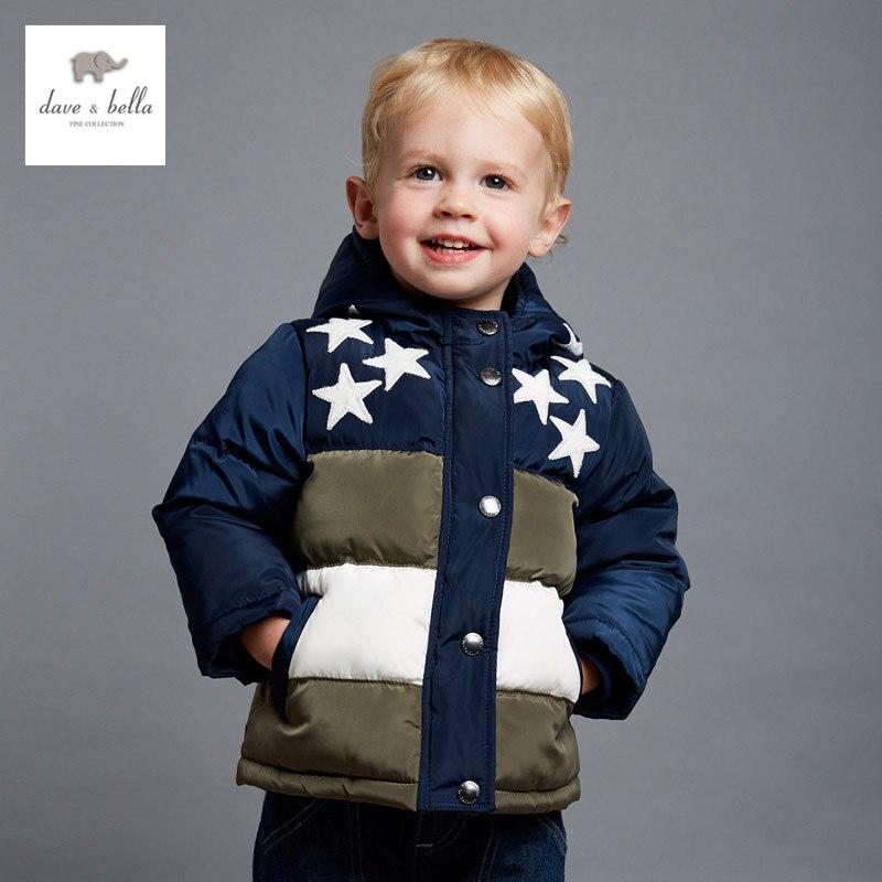ФОТО DB4128 dave bella  winter baby boys navy stars print parkas hooded coat