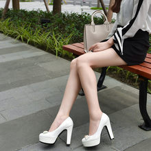 Big Size 11 12 13 14 15 16 17 ladies high heels women shoes woman pumps Waterproof platform with round head and high heel(China)