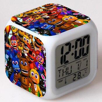 Gmaes Anime rysunek pięć nocy w Freddy's LED Alarm zegar miga kolorowy dotykowy światła FNAF Figma Freddy zabawki dla dla dzieci