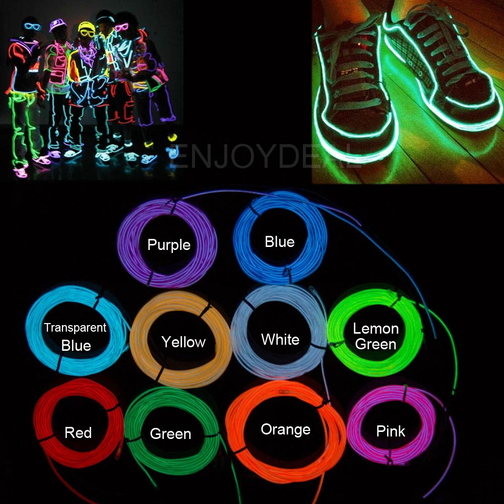 1M2M/3M/5M El wire Waterproof LED Strip Light Neon Light Glow light line Rope Tube Cable+Battery Controller Party Car Decoration