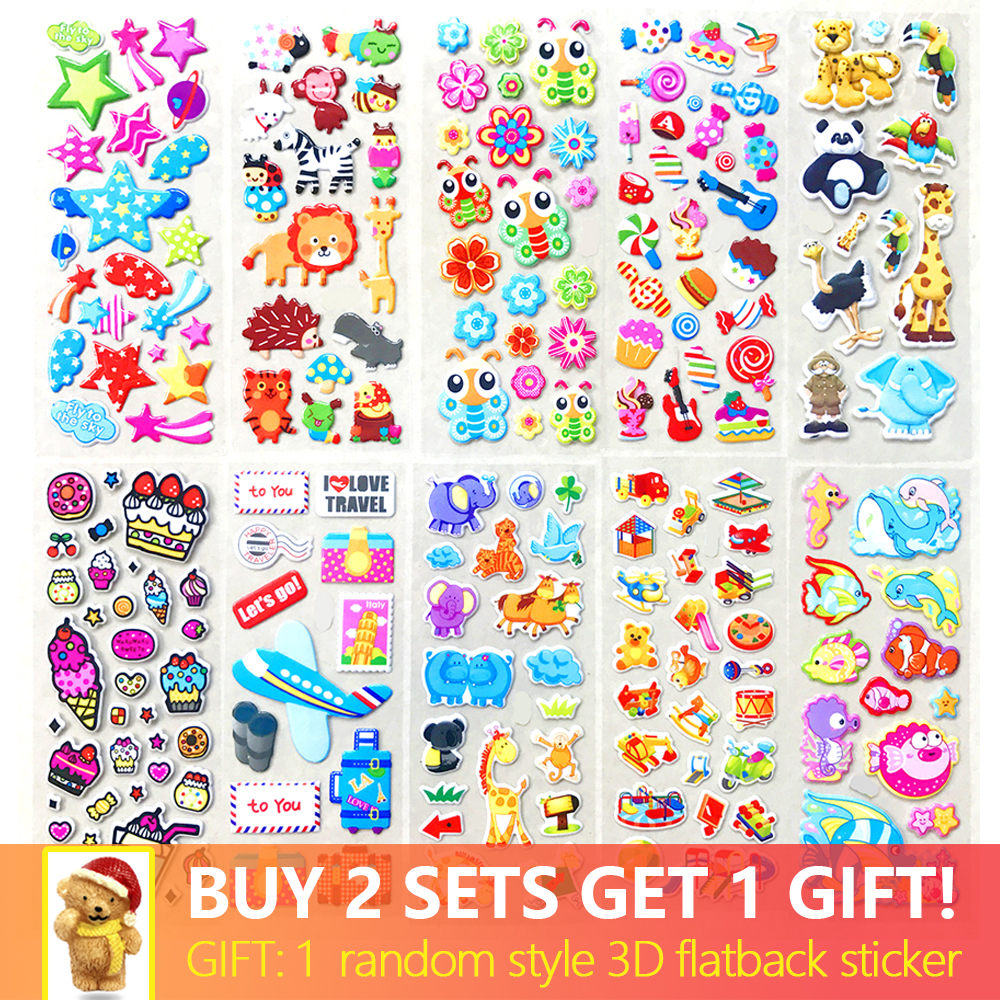 10 Different Sheets Various Cute Pet Animals Snacks Desserts DIY Cartoon Stickers Scrapbook Toys Buy 2 Get 1 Free Flatback Gifts