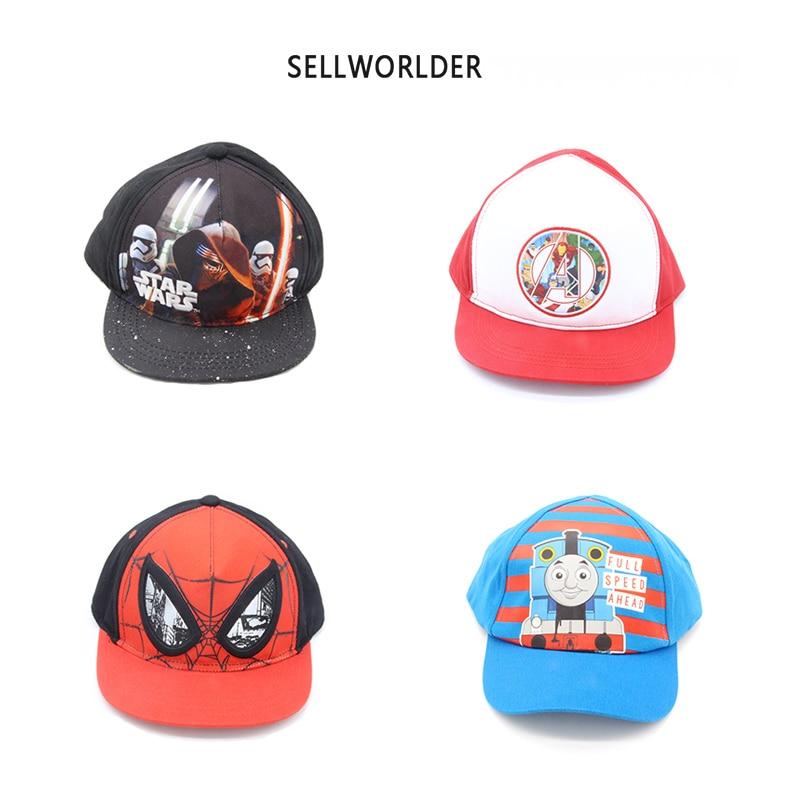 2018 SELLWORLDER  5 Styles Children Cartoon Character The Avengers & Spiderman & Star Wars  Baseball Caps