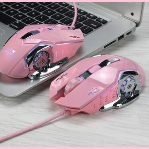 Image 1 - Мышь компьютерная игровая Механическая для девочек, 3200 точек/дюйм, розовая/белая