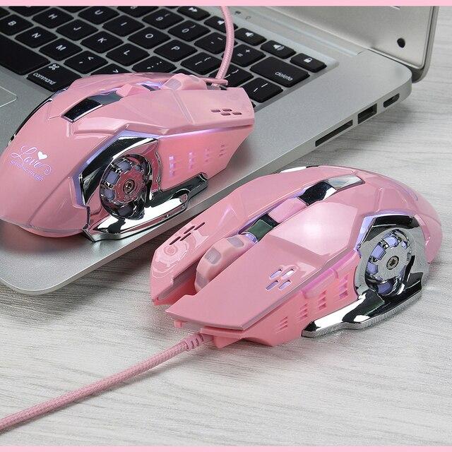 Мышь компьютерная игровая Механическая для девочек, 3200 точек/дюйм, розовая/белая