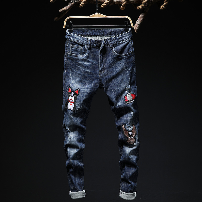 New Men Jeans Hole Ripped Stretch Destroyed Hip Hop Jean 2019 Spring Summer Fashion Slim Hole Embroidery Flower Pants