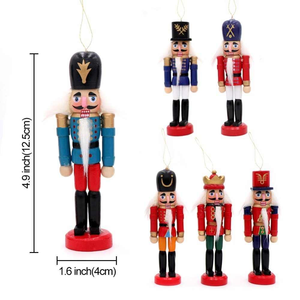OurWarm 6 個木製割り兵士ミニチュア人形ヴィンテージ手芸人形新年クリスマス装飾家の装飾