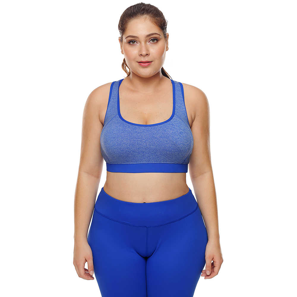 a5896bdcc1a0b5 Large Big Plus Size Fitness Top Female Sport Brassiere Push Up Piping Trim  Padded Women Running Yoga Workout Sports Bra 2018