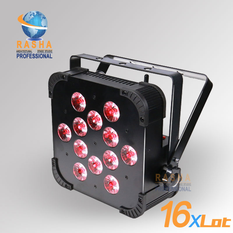 16X LOT Rasha Quad Factory Price 12*10W RGBA/RGBW 4in1 Non-Wireless LED Flat Par Can,Disco LED Par Light For Stage Event Party rasha quad 12x lot 7 10w rgba rgbw wireless led slim par profile led flat par can for stage event party with 12in1 flight case