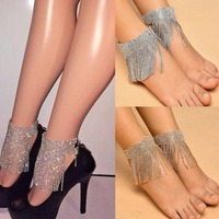 Shiny Crystal Wide Ankle Chain anklets for women Barefoot Sandals Beach Foot Jewelry Sexy ankle bracelet Female legs accessories