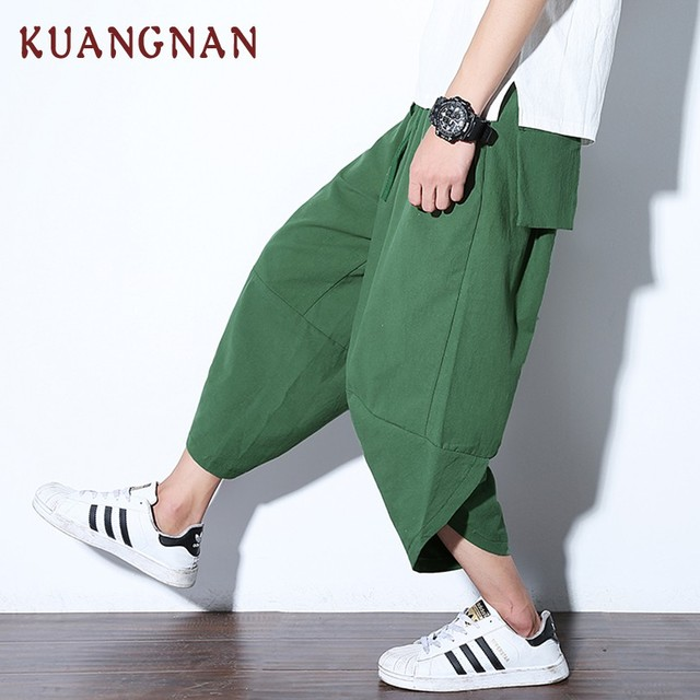 KUANGNAN Chinese Casual Pants Men Ankle-Length Cotton Linen Loose Harem Pants Men Joggers Solid Streetwear Men Pants 2018 Autumn 3