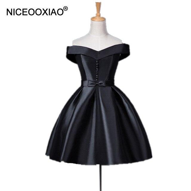 plus de photos f655c ea7af € 48.27 |NICEOOXIAO noir Robe De soirée courte col bateau bretelles avec  bouton formelle fête Robe De bal femmes Robe De soirée chérie 2019 dans  Robes ...