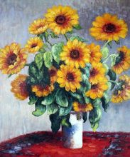 Sunflowers by Claude Monet Handpainted