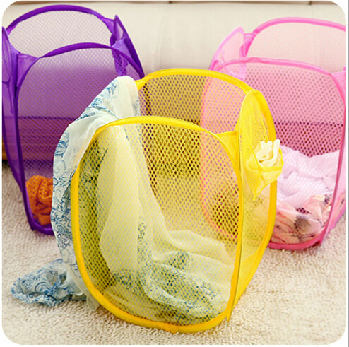 Free Shipping 100 Pieces Foldable Laundry Clothes Basket Storage Pop Up Laundry Hamper In Retail Packages