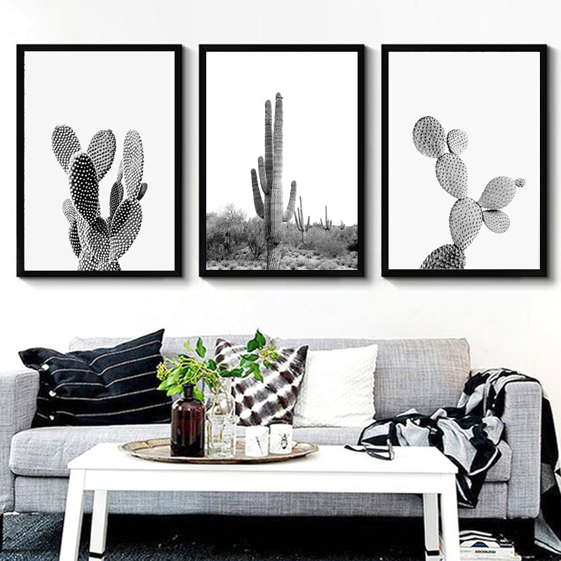 US $3.09 48% OFF|Nordic Minimalist Succulent Green Plants Canvas Art Black  and White Cactus Poster Wall Paintings Living Room Modern Home Decor-in ...