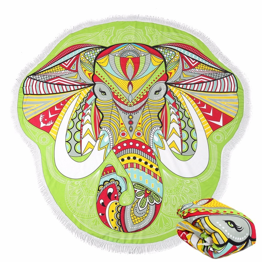Pineapple Sugar Skull Watermelon Emoji Donut Pizza Irregular Cartoon Elephant Microfiber Round Beach Towel Serviette De Plage