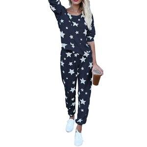 Image 2 - Женский пижамный комплект со звездами, Осень зима, мягкая удобная Пижама, домашний костюм, женская пижама, топ и штаны, пижамный комплект