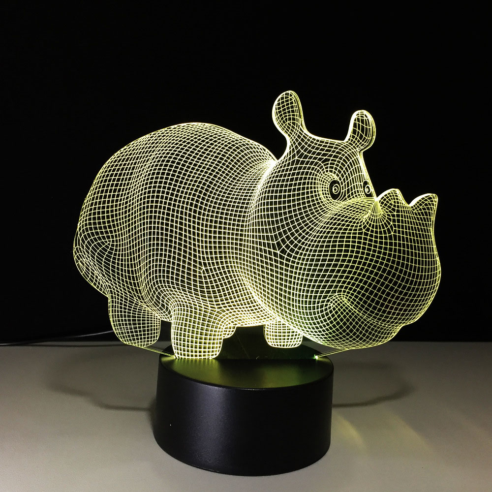 Creative Child Bedside Night Light Animal Rhino Lamp 3D LED Lighting Night Light Colorful Gradient Atmosphere Kids Holiday Gifts