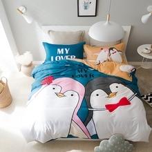 Penguin duvet cover set 100% cotton blue quilt cover/light tan pillow case bed sheets,3/4pcs twin queen multi-size bedding set