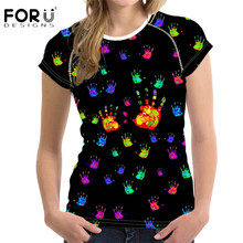 FORUDESIGNS Korean Style Women T Shirt Brand Designer Casual Short Sleeve Top Tees for Ladies Hand Painted Student Girls T-shirt