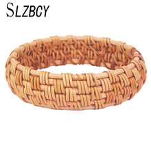 SLZBCY Handmade Natural Plant Straw Rattan Weave Round Wide