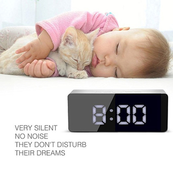LED Mirror Alarm Clock Digital display Snooze Table Clock Wake Up Light  4