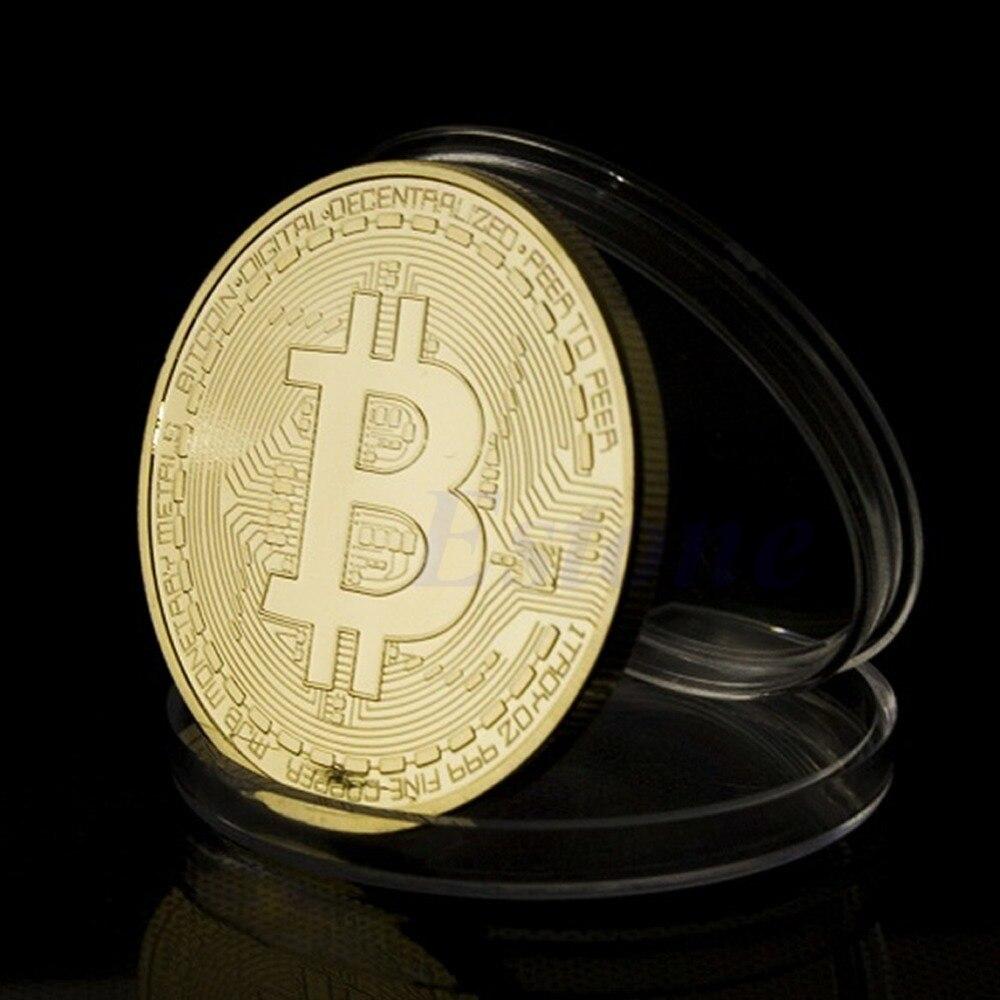 1 x ոսկու plated Bitcoin Մետաղադրամ Հավաքածու - Տնային դեկոր - Լուսանկար 2