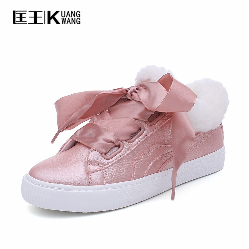 New 2017 Women's Winter Boots Australia Bow Lace Snow Boots Shoes Woman Ankle Boots For Women With Fur Warm Plush Botas Feminina 2016 rhinestone sheepskin women snow boots with fur flat platform ankle winter boots ladies australia boots bottine femme botas
