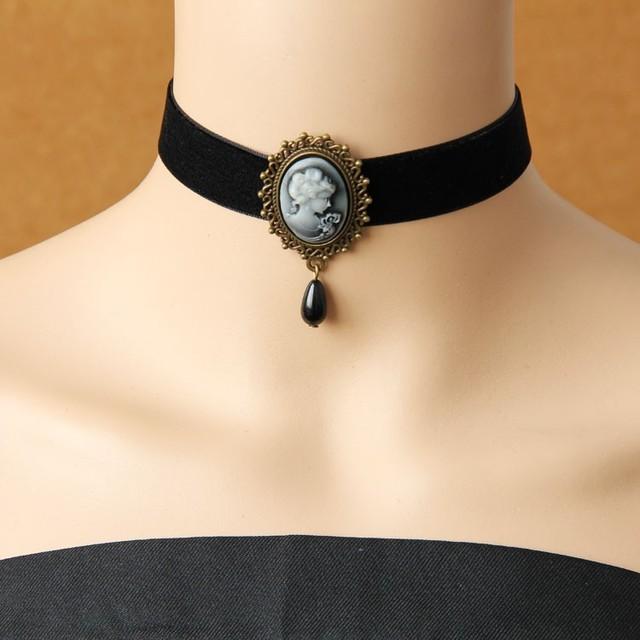 Encaje gótico joyería de la vendimia collares y colgantes accesorios de las mujeres choker collar collar falso collares declaración