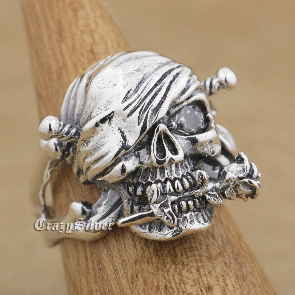 LINSION 925 Sterling Silver Pirate Skull Rose White CZ Eye Mens Biker Punk Ring 9W001 US Size 7 to 15 цена
