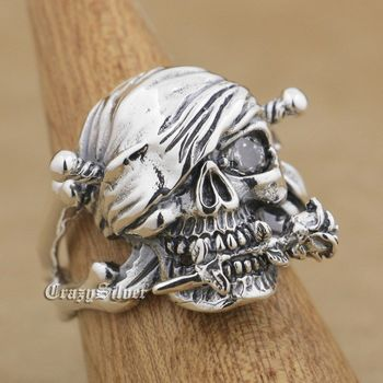 LINSION 925 Sterling Silver Pirate Skull Rose White CZ Eye Mens Biker Punk Ring 9W001 US Size 7 to 15