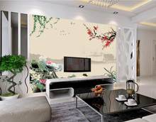 7dbd6c0d69e0c3 Custom 3D muurschildering, Chinese lotus pruimenbloesem schilderijen papel  de parede, hotel restaurant woonkamer sofa TV muur sl.