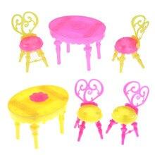 Sillas de mesa Vintage para muñecas conjuntos de muebles de comedor juguetes para niño o niña para Bebé Muebles de casa para monstruo 1 Juego