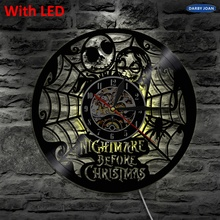 Pesadilla antes de Navidad silueta LED retroiluminación luz moderna vinilo reloj Color decorativo lámpara Vintage iluminado