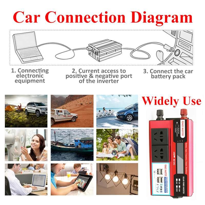 KROAK 4000W 4 USB onduleur DC 12/24V à AC 220 V adaptateur de voiture convertisseur de Charge écran LCD transformateur à onde sinusoïdale modifiée - 2